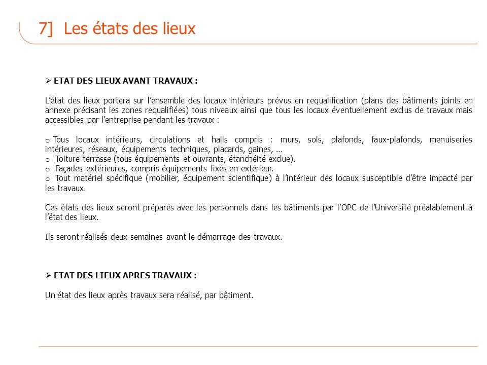 7] Les états des lieux ETAT DES LIEUX AVANT TRAVAUX :